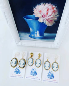 Wedgwood Blue & White Cameo Earrings - 6 Styles - Ginger jar