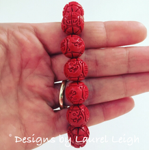 Load image into Gallery viewer, Red Chinoiserie Carved Cinnabar Longevity Symbol Statement Bracelet - Designs by Laurel Leigh