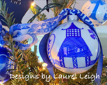 Load image into Gallery viewer, Chinoiserie Hand Painted JUMBO SIZE Christmas Ornament - Pagoda or Double Happiness Symbol Designs - Designs by Laurel Leigh