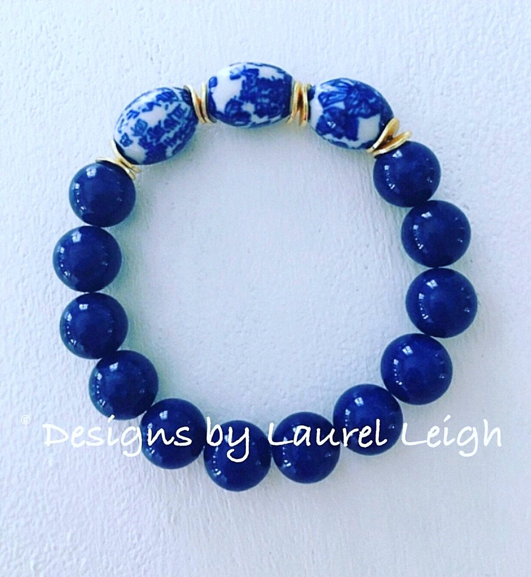 Blue and White Chinoiserie Vintage Bead Statement Bracelet - Navy - Ginger jar