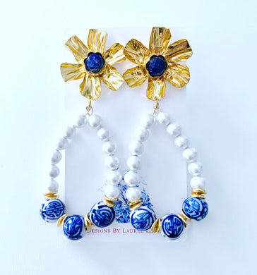 Lapis & Pearl Floral Chinoiserie Statement Earrings - Ginger jar