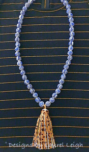 Blue and White Chunky Chinoiserie Leopard Print Tassel Statement Necklace - Ginger jar