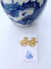 Load image into Gallery viewer, Gold Chinoiserie Dragon Earrings