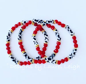 Dainty Red, Black, White & Gold Gemstone Beaded Bracelet - Single or Stack - Ginger jar
