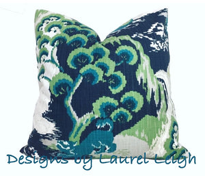 Chinoiserie Accent Throw Pillow Covers - Robert Allen Madcap Cottage Road to Canton Designer Fabric  - Marrakech Green (Grey/Green/Blue) - Ginger jar