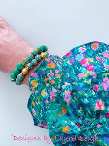 Chinoiserie Longevity Bead Bracelet - Green & Gold