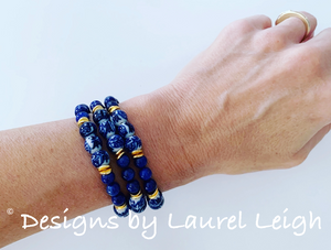 Blue and White Chinoiserie Dainty Lapis Gemstone Beaded Bracelet - Sold Individually - Ginger jar