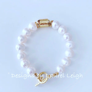 Gold & Freshwater Pearl Statement Bracelet - Ginger jar