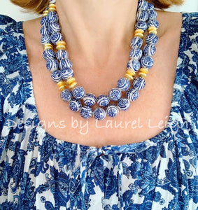 Chunky Double Strand Chinoiserie Longevity Symbol Bead Necklace - Ginger jar