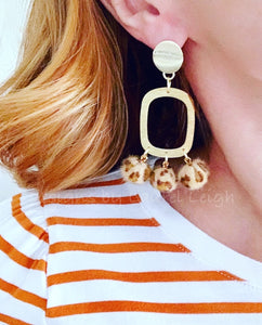 Gold Faux Leather Leopard Chandelier Drop Statement Earrings - Posts - Ginger jar
