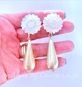 Gold & White Mother of Pearl Sunflower Teardrop Earrings - Ginger jar
