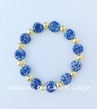Load image into Gallery viewer, Blue and White Chinoiserie Coin Beaded Bracelet - Designs by Laurel Leigh
