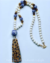 Load image into Gallery viewer, Blue and White Chinoiserie Double Happiness Leopard Print Tassel Statement Necklace - Ginger jar