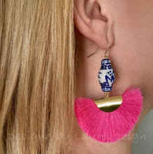 Load image into Gallery viewer, Chinoiserie Ginger Jar Fan Tassel Earrings - Hot Pink - Ginger jar