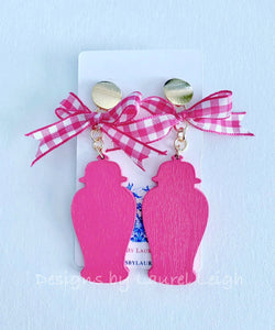 Chinoiserie Chic Ginger Jar Statement Earrings - Pink or Blue Gingham Bows - Ginger jar