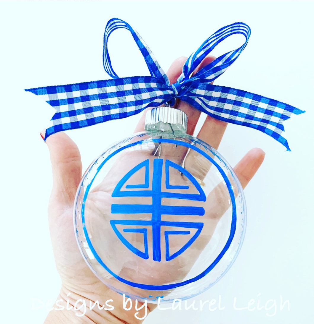 Large Blue/Clear Glass Chinoiserie Longevity Symbol Ornament - Ginger jar