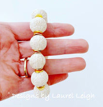 Load image into Gallery viewer, Ivory/Gold Chinoiserie Beaded Bracelet - Ginger jar