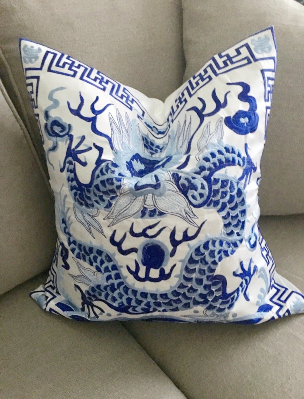 "Embroidered Blue and White Chinoiserie Dragon Pillow Covers - Set of Two 18x18"" - Ginger jar"