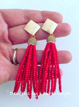 Load image into Gallery viewer, Red and Gold Tassel Statement Earrings - Designs by Laurel Leigh
