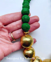 Load image into Gallery viewer, Green and Gold Chunky Chinoiserie Statement Necklace - Ginger jar