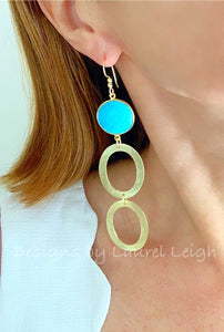 Turquoise & Gold Drop Hoops - Ginger jar