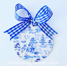 Load image into Gallery viewer, Chinoiserie Christmas Ornament- Watercolor Blue Willow Pattern
