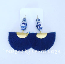 Load image into Gallery viewer, Chinoiserie Ginger Jar Fan Tassel Earrings - Navy - Ginger jar