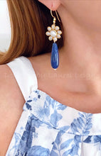 Load image into Gallery viewer, Blue Lapis and Gold Floral Pearl Teardrop Earrings - Ginger jar