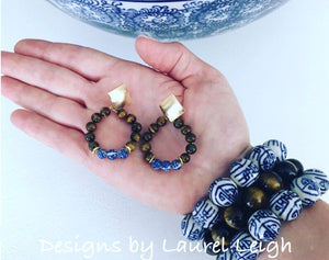 Chinoiserie Beaded Post Hoops - Tiger's Eye - Designs by Laurel Leigh