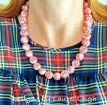 Load image into Gallery viewer, Chinoiserie Red and White Peony Statement Necklace