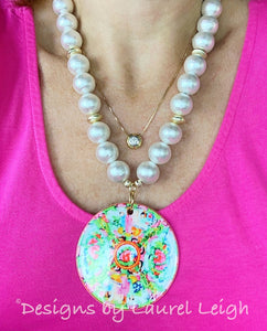 Chinoiserie Chic Rose Medallion Pendant Necklace - White Chunky Pearls - Ginger jar