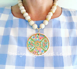Rose Medallion Chinoiserie Pendant Necklace - White - Ginger jar