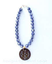 Load image into Gallery viewer, Chinoiserie Double Happiness Pendant Statement Necklace