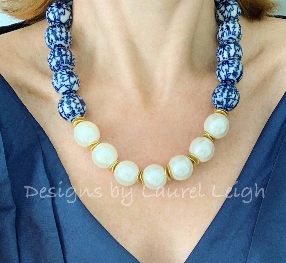 Blue and White Chinoiserie Jumbo Pearl Floral Statement Necklace - Ginger jar