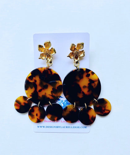 Brown Tortoise Shell Chandelier Statement Earrings - 3 Styles - Ginger jar