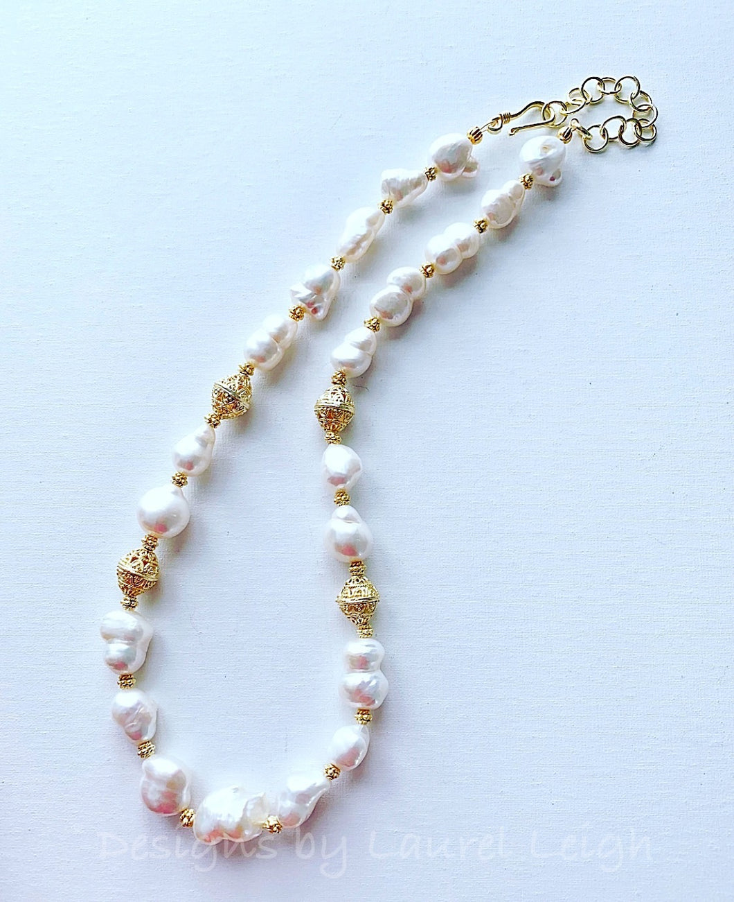 Baroque Pearl and Gold Bead Statement Necklace - Adjustable - Ginger jar