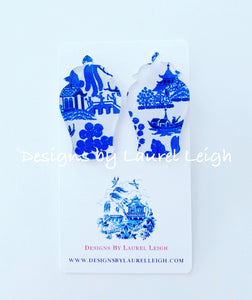 Ginger Jar Chinoiserie Earrings (Small) - Blue Willow, Pink Willow & Gingham - Ginger jar