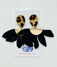 Load image into Gallery viewer, Black and Gold Leopard and Feather Statement Earrings - Ginger jar