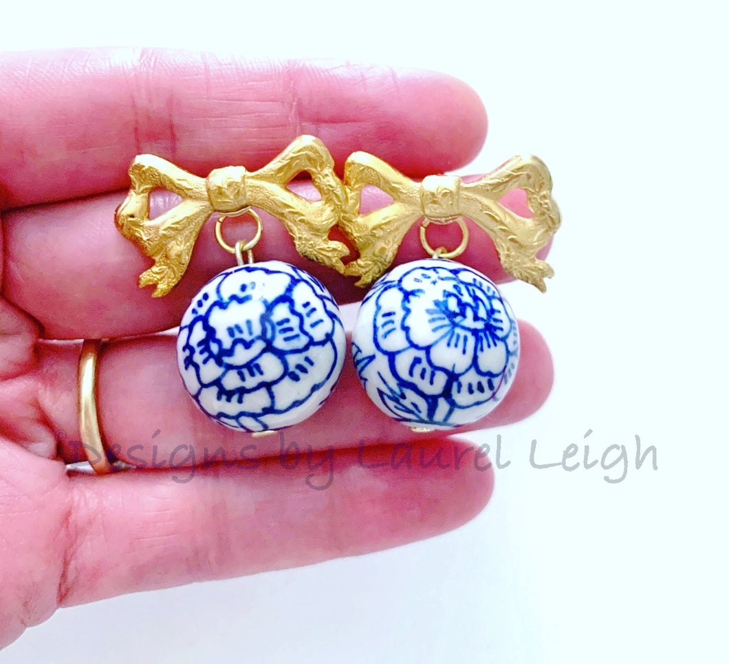 Blue and White Chinoiserie Peony & Bow Earrings