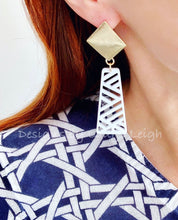 Load image into Gallery viewer, Chinoiserie Chippendale Statement Earrings - White/Gold - Ginger jar