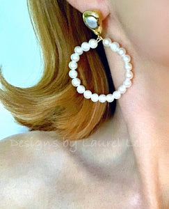 Freshwater Pearl Hoops - Medium w/ Oval Pearl Posts - Ginger jar