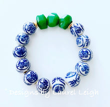 Load image into Gallery viewer, Chinoiserie Beaded Statement Bracelet w/ Green Jade - Ginger jar