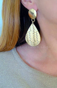 Leather Basketweave Statement Earrings - Gold or Silver - Ginger jar