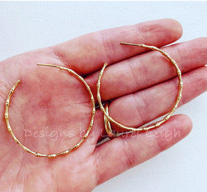 Gold Bamboo Open Hoop Earrings - Two Styles - Ginger jar