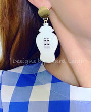 Load image into Gallery viewer, Chinoiserie Chic Double Happiness Ginger Jar Earrings - Royal or White - Ginger jar
