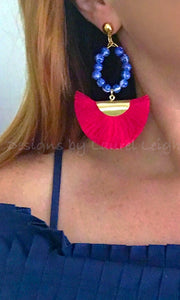 Chinoiserie Beaded Hoop Fan Tassel Earrings - Red or Navy - Ginger jar