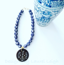 Load image into Gallery viewer, Chinoiserie Double Happiness Brown Jade Pendant Statement Necklace - Ginger jar