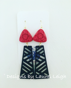 Chinoiserie Chippendale Statement Earrings - Red & Black - Ginger jar