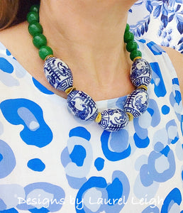 Chunky Chinoiserie Green Jade Statement Necklace