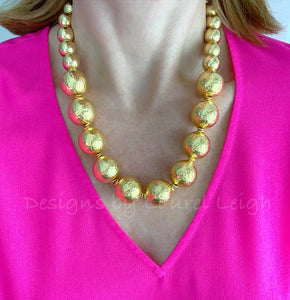 Chunky Hammered Gold Graduated Bead Statement Necklace - Ginger jar